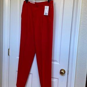 Escada Red Wool Gabardine pants - Size 42 NWT
